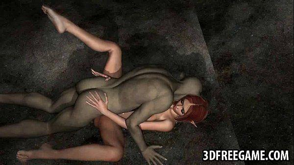 Hot 3D redhead elf babe gets..